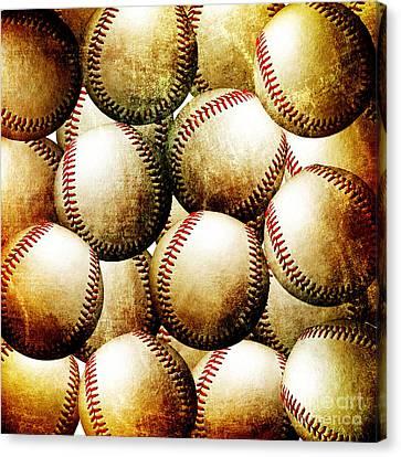 Vintage Look Baseballs Canvas Print by Andee Design