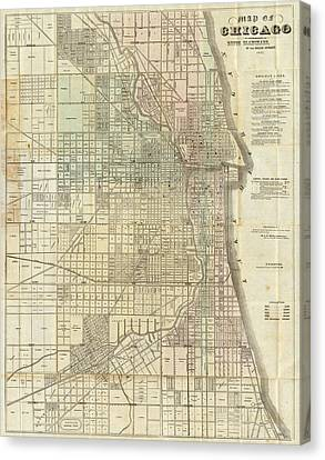 Vintage Map Of Chicago - 1857 Canvas Print