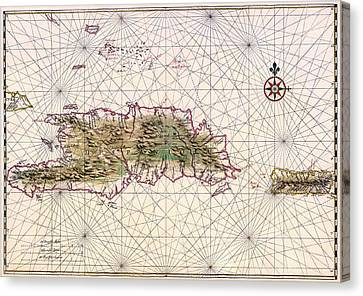 Vintage Map Of Nautical Routes Hispaniola Puerto Rico Canvas Print by Mountain Dreams