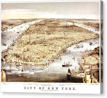 Vintage Map Of The City Of New York Canvas Print by Benjamin Yeager