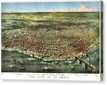 Vintage Map Of The City Of St Louis Canvas Print by Benjamin Yeager