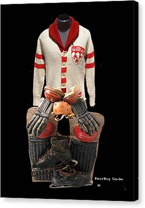 Vintage Mcgill Sweater And Hockey Equipment Canvas Print
