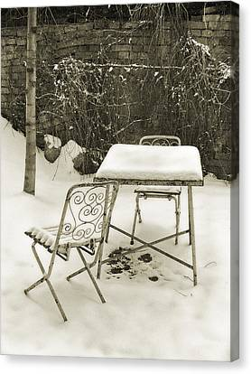 Vintage Metal Chairs Covered With Snow Canvas Print