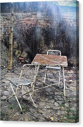 Vintage Metal Chairs In The Backyard Canvas Print