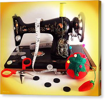 Vintage Mini Sewing Machine Canvas Print