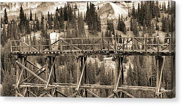 Vintage Mining Trestle Canvas Print by Dan Sproul