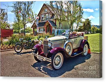 Vintage Model A Ford With Motorcyle Canvas Print by David Smith