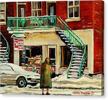 Vintage Montreal Art Verdun Depanneur Winter Scene Paintings Staircases And 7up Signs Carole Spandau Canvas Print
