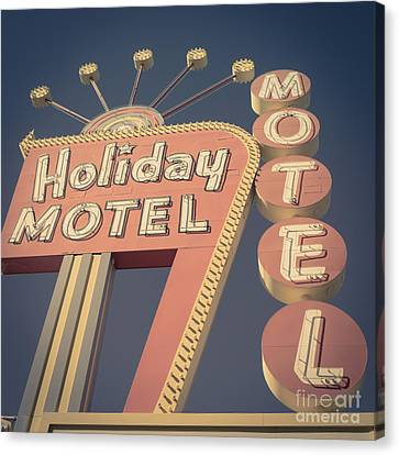 Vintage Motel Sign Square Canvas Print