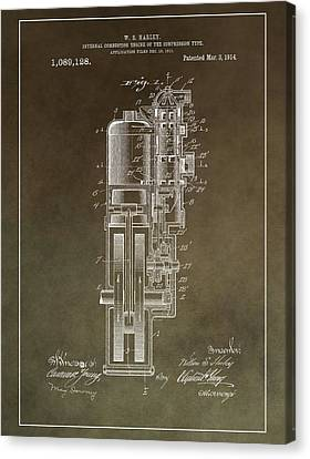 Combustion Canvas Print - Vintage Motorcycle Engine Patent by Dan Sproul