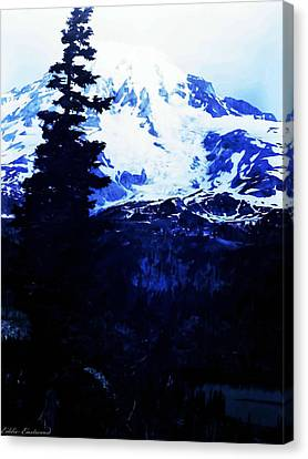 Canvas Print featuring the photograph Vintage Mount Rainier And Reflexion Lake In The Foreground Early 1900 Era... by Eddie Eastwood