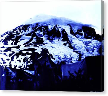 Canvas Print featuring the photograph Vintage Mount Rainier At Twilight Early 1900 Era... by Eddie Eastwood