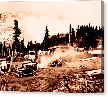 Canvas Print featuring the photograph Vintage Mount Rainier Cars And Camp Grounds Early 1900 Era... by Eddie Eastwood