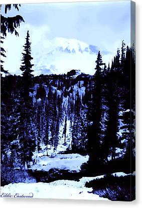 Canvas Print featuring the photograph Vintage Mount Rainier Forest Early 1900 Era... by Eddie Eastwood