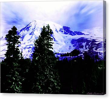 Canvas Print featuring the photograph Vintage Mount Rainier From Pinnacle Peak Early 1900 Era... by Eddie Eastwood