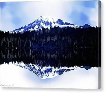 Canvas Print featuring the photograph Vintage Mount Rainier From Reflection Lake Early 1900 Era... by Eddie Eastwood