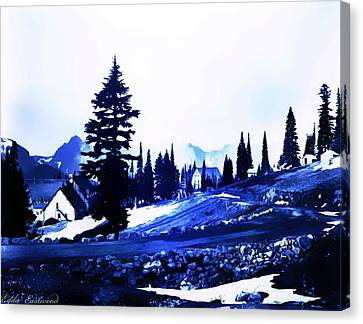 Vintage Mount Rainier Lodge Early 1900 Era... Canvas Print by Eddie Eastwood