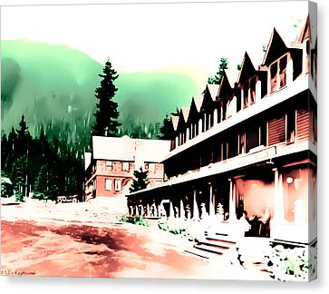 Canvas Print featuring the photograph Vintage Mount Rainier National Park Inn Early 1900 Era... by Eddie Eastwood