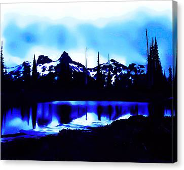 Canvas Print featuring the photograph Vintage Mount Rainier With Longmire Springs In The Foreground Early 1900 Era... by Eddie Eastwood