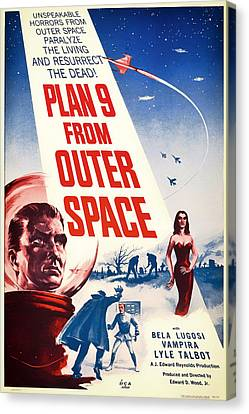 Vintage Movie Poster - Plan 9 From Outer Space Canvas Print by Mountain Dreams