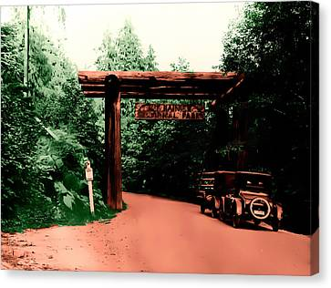 Canvas Print featuring the photograph Vintage Mt.rainier National Park Entrance Early 1900 Era... by Eddie Eastwood