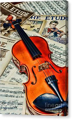 Vintage Music And Violin Canvas Print by Paul Ward