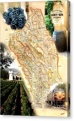 Vintage Napa Valley Map Canvas Print