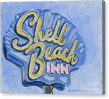 Vintage Neon- Shell Beach Inn Canvas Print by Sheryl Heatherly Hawkins