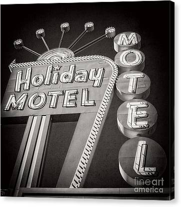 Vintage Neon Sign Holiday Motel Las Vegas Nevada Canvas Print by Edward Fielding