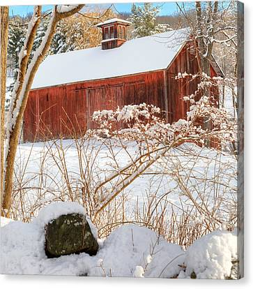 Vintage New England Barn Portrait Square Canvas Print by Bill Wakeley