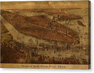 Vintage New York City Manhattan Nyc In 1875 City Map On Worn Canvas Canvas Print by Design Turnpike