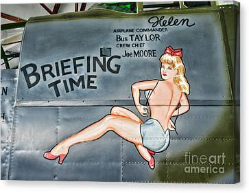 Vintage Nose Art Briefing Time Canvas Print by Paul Ward