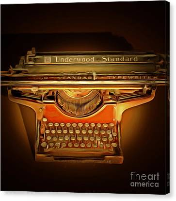 Vintage Nostalgic Typewriter 20150228 Square Canvas Print by Wingsdomain Art and Photography