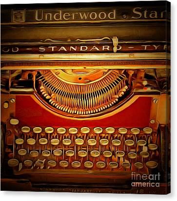 Vintage Nostalgic Typewriter 20150228v2 Square Canvas Print