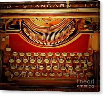 Vintage Nostalgic Typewriter 20150228v2 Canvas Print by Wingsdomain Art and Photography