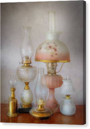 Vintage Oil Lamps Canvas Print by David and Carol Kelly