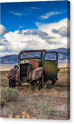 Haybales Canvas Print - Vintage Old Truck by Robert Bales
