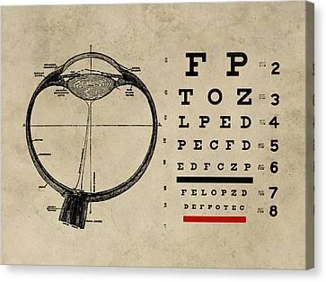 Optometrist Canvas Print - Vintage Ophthalmologist Eye Chart by Flo Karp