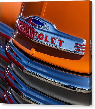 Vintage Orange Chevrolet Canvas Print by Carol Leigh