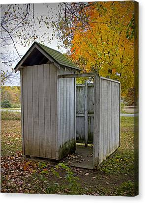 Country Schools Canvas Print - Vintage Outhouse Alongside A Historical Country School In Southwest Michigan by Randall Nyhof