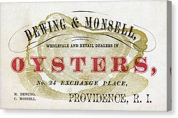 Raw Oyster Canvas Print - Vintage Oyster Dealers Trade Card by Historic Image