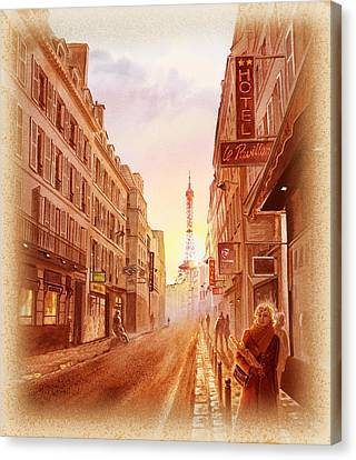 Vintage Paris Street Eiffel Tower View Canvas Print by Irina Sztukowski