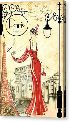 Vintage Paris Woman Canvas Print by Greg Sharpe