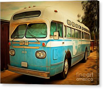 Bus In San Francisco Canvas Print - Vintage Passenger Bus 5d28394brun by Wingsdomain Art and Photography