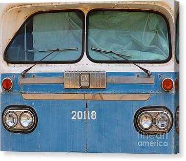 Bus In San Francisco Canvas Print - Vintage Passenger Bus 5d28398 by Wingsdomain Art and Photography