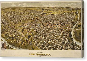 Vintage Perspective Map Forth Worth Texas Canvas Print