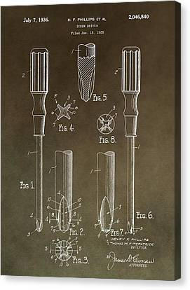 Spin Canvas Print - Vintage Phillips Screwdriver Patent by Dan Sproul