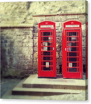 Vintage Phone Boxes Canvas Print by Jane Rix