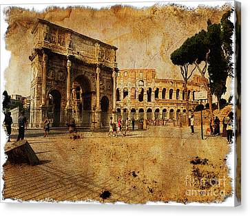 Vintage Photo Of Coliseum Canvas Print by Stefano Senise