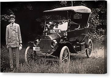 Vintage Photo Of Rural Mail Carrier - 1914 Canvas Print by Mountain Dreams